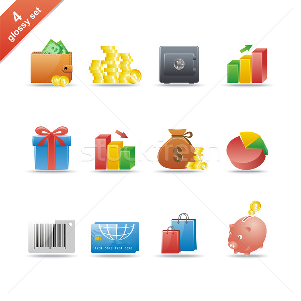 Glänzend Set 12 Web-Icons sehen Stock foto © Designer_things