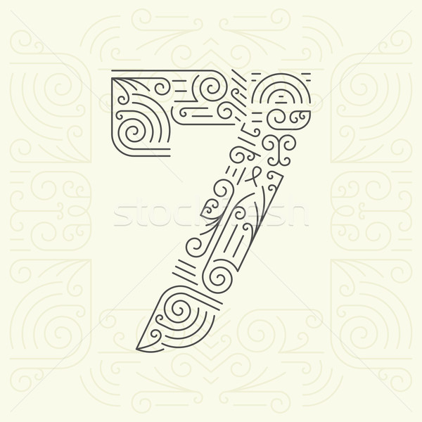 Vector Mono Line style Geometric Font for Your Text. Number 7 Stock photo © Designer_things