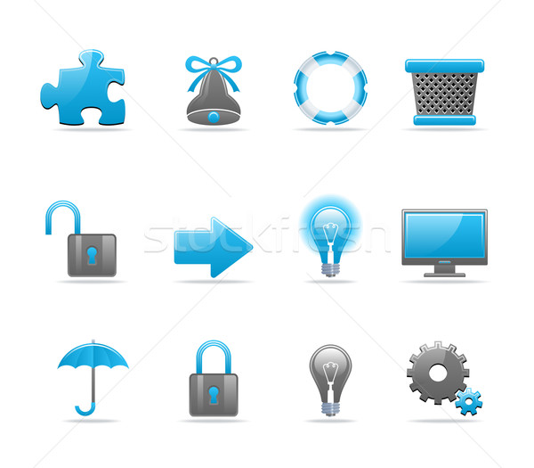 Conjunto 12 os ícones do web compras Foto stock © Designer_things