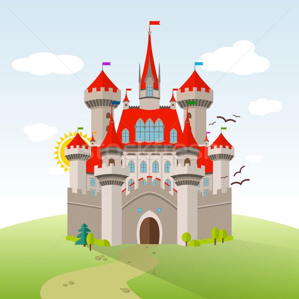 Fairy-tale Castle. Vector Imagination Child Illustration. Flat Landscape with Green Trees Stock photo © Designer_things
