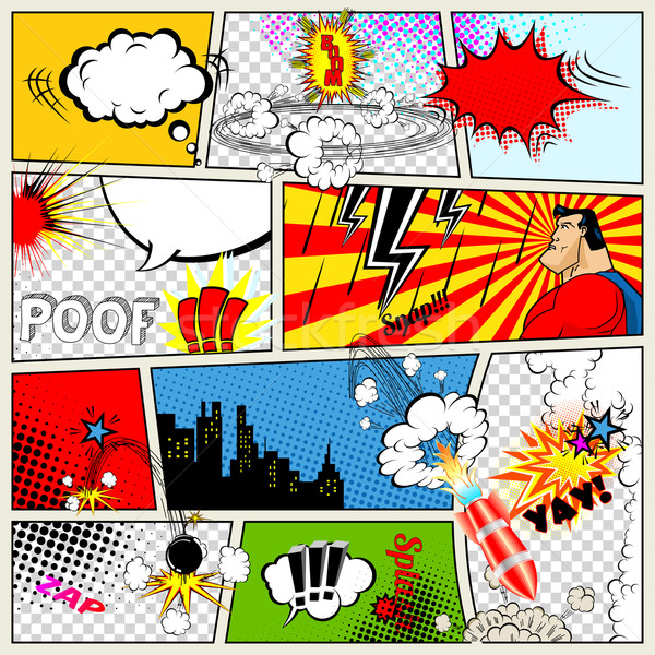 Comics Template. Vector Retro Comic Book Speech Bubbles Illustration.  Stock photo © Designer_things