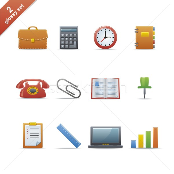 Glossy icon set 2 Stock photo © Designer_things