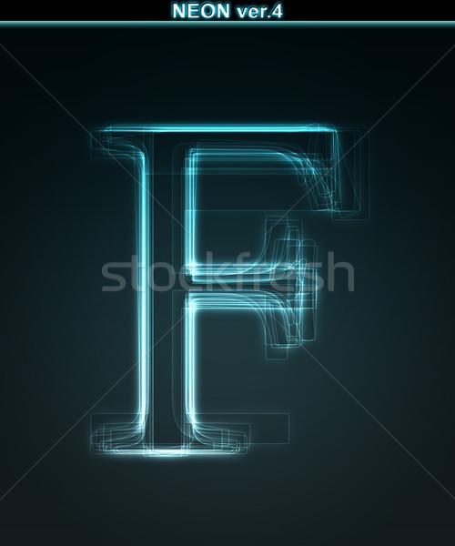 Stock fotó: Izzó · neon · betűtípus · fényes · f · betű · fekete
