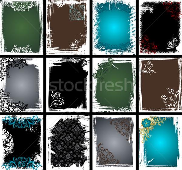 Zdjęcia stock: Grunge · ramki · kolekcja · zestaw · 12 · ramki