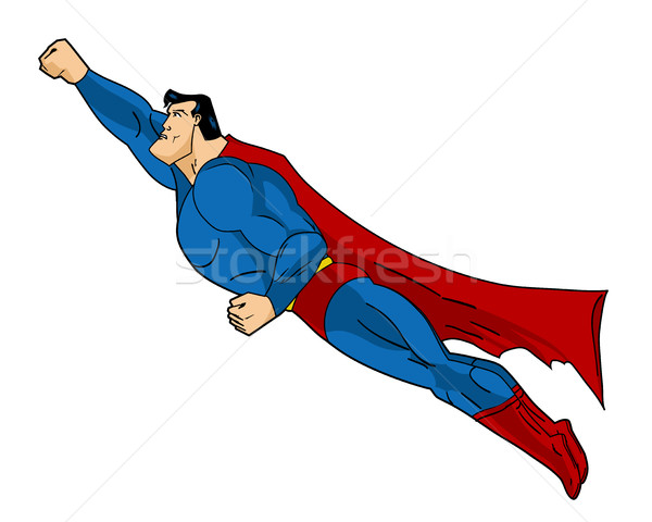Vector Flying Superhero Illustraation. Icon action cartoon colored style. Comic book element design Stock photo © Designer_things