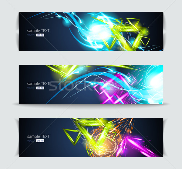 Set of banners and abstract headers with shadows Stock photo © Designer_things