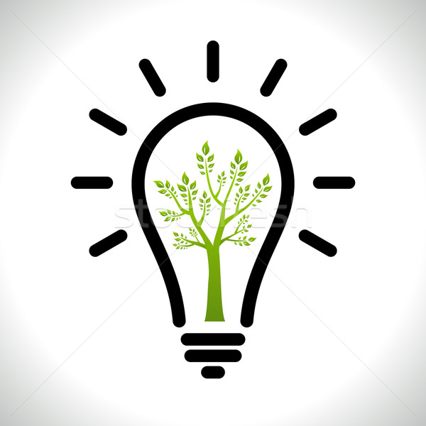 Modern infographic template. Light bulb with Green tree icon inside. Business Eco Сoncept Idea Stock photo © Designer_things
