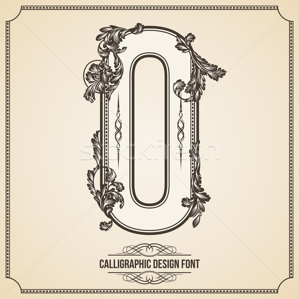 Calligraphic Font. Number 0. Vector Design Background. Swirl Style Illustration. Stock photo © Designer_things