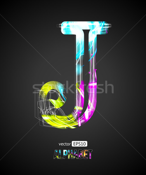 Vector Design Light Effect Alphabet. Letter J on a Black Background. Stock photo © Designer_things