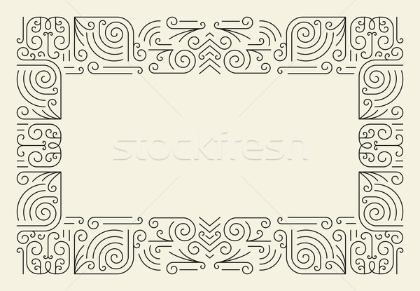 Mono Line Frame. Simple Certificate Border Stock photo © Designer_things