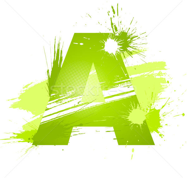 Green abstract paint splashes font. Letter A Stock photo © Designer_things