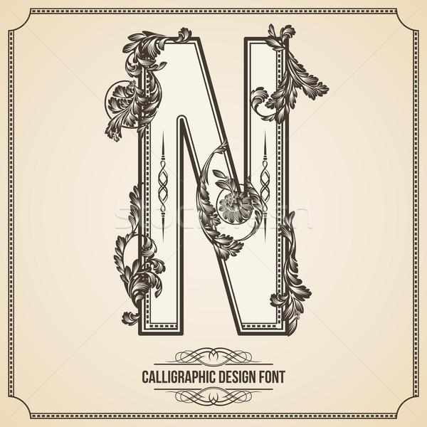 Kalligrafikus terv betűtípus n betű könyv levél Stock fotó © Designer_things