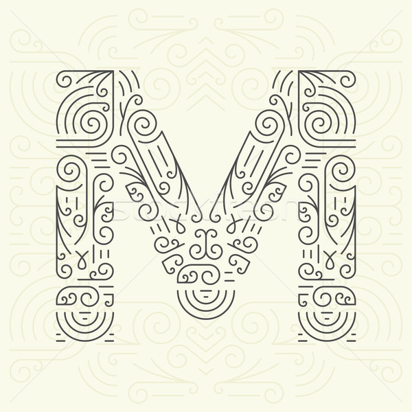 Wektora line stylu geometryczny chrzcielnica tekst Zdjęcia stock © Designer_things