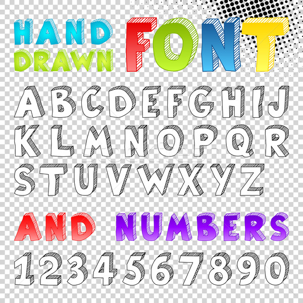 Hand drawn sketch font Stock photo © Designer_things