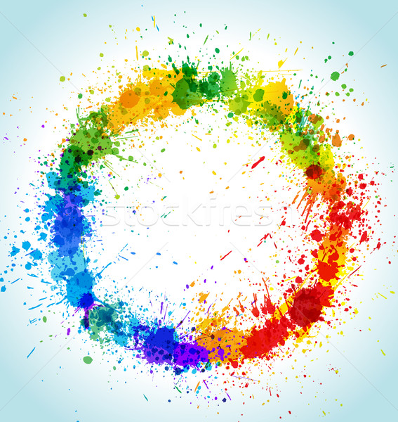 Color paint splashes round background Stock photo © Designer_things
