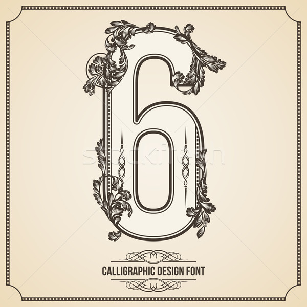 Calligraphic Font. Number 6. Vector Design Background. Swirl Style Illustration. Stock photo © Designer_things