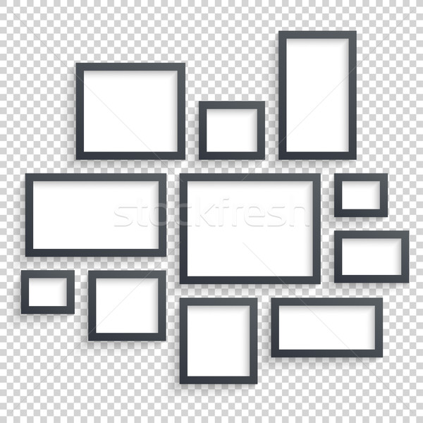 Picture frames vector. Photo art gallery. Dark Blank Frames Collection on Wall with Transparent Real Stock photo © Designer_things