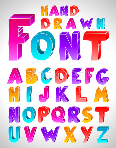 Hand drawn vector font. Letters Stock photo © Designer_things