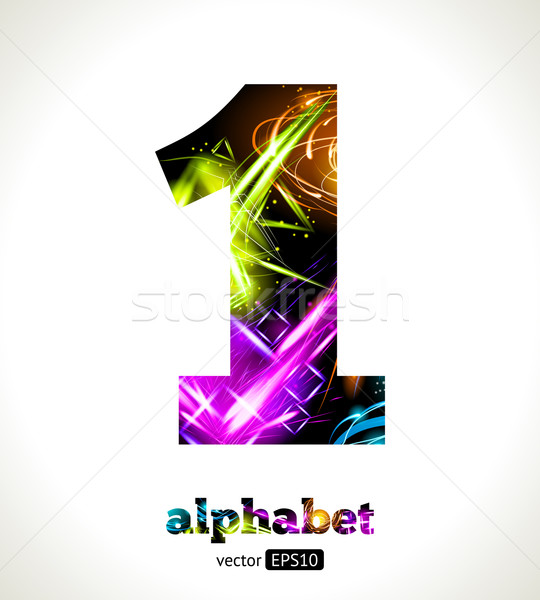 Vector Customizable Light Effect Alphabet. Design Abstract figure 1. Stock photo © Designer_things