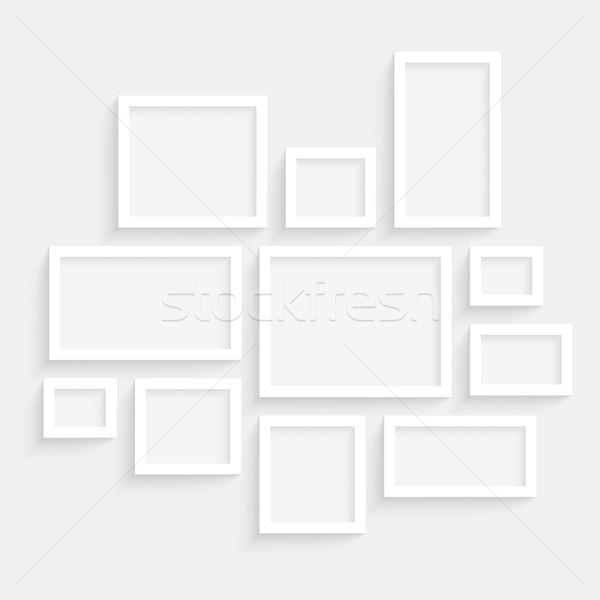 Foto stock: Vetor · quadros · coleção · parede · transparente · realista