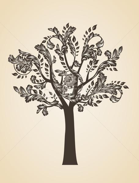Tourbillon arbre art brun logo gravure Photo stock © Designer_things