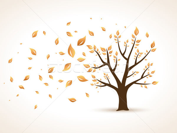 Gold Autumn. Abstract Vector Tree shaken by Wind Stock photo © Designer_things