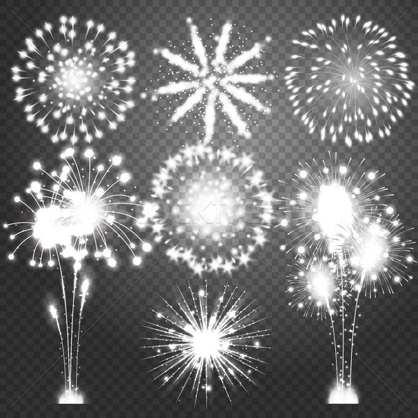 Firework bursting in various shapes sparkling pictograms set. Abstract vector isolated illustration Stock photo © Designer_things