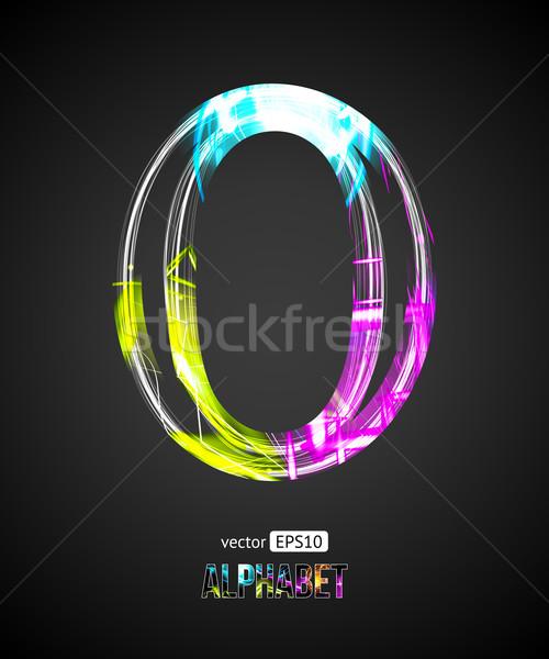 Vector Design Light Effect Alphabet. Letter O on a Black Background. Stock photo © Designer_things