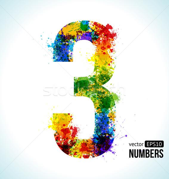 Stok fotoğraf: Eğim · vektör · numara · renk · boya · sıçraması