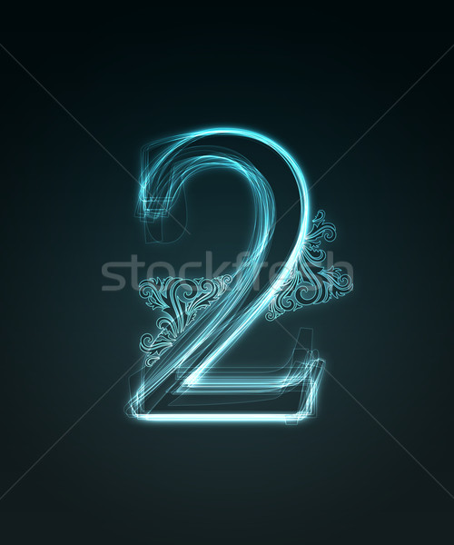 Glowing font. Shiny number 2 Stock photo © Designer_things
