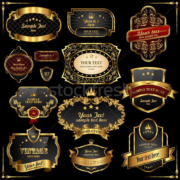 Retro vector goud frames zwarte premie Stockfoto © Designer_things