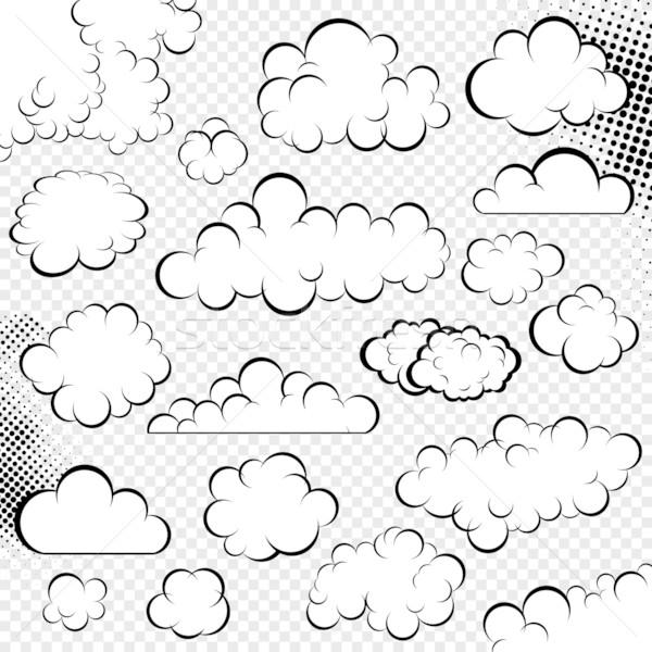 Foto stock: Vetor · nuvens · coleção · balão · de · fala · desenho · animado · livro