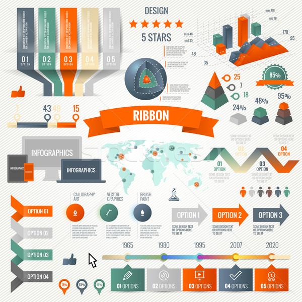 Infographics ayarlamak seçenekleri iş simgeler Stok fotoğraf © Designer_things