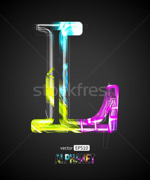 Vector Design Light Effect Alphabet. Letter L on a Black Background. Stock photo © Designer_things