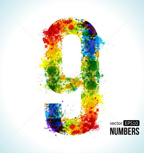 Stock photo: Gradient Vector Number 9