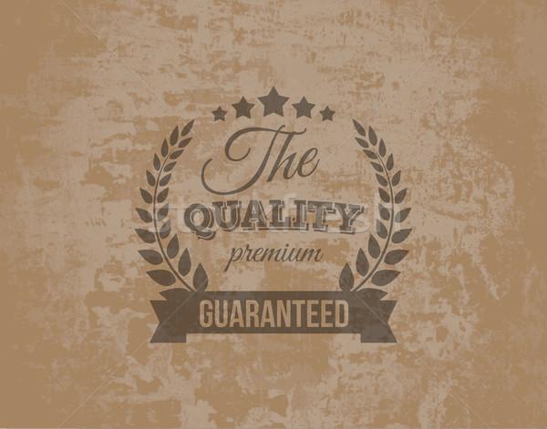 Prim kalite garanti etiket grunge kahve Stok fotoğraf © Designer_things
