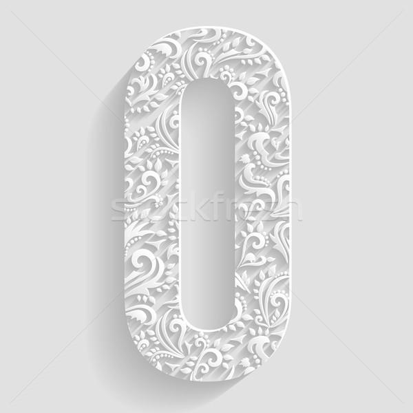 O betű vektor virágmintás meghívó kártyák dekoratív Stock fotó © Designer_things