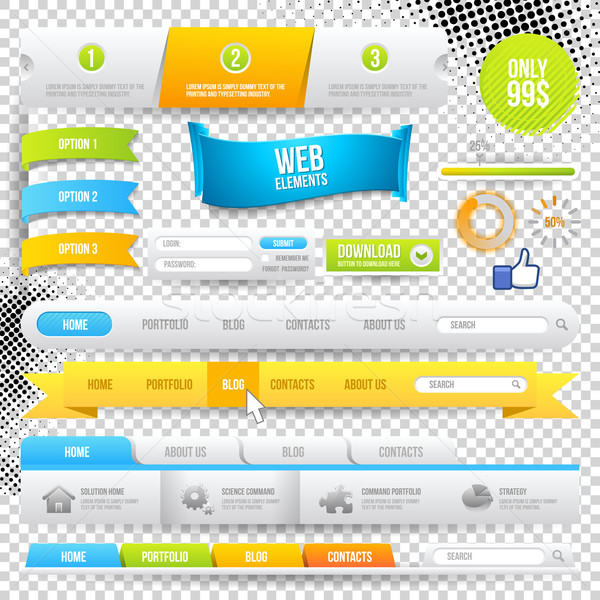 Vektor Web Elemente Tasten Etiketten Website Stock foto © Designer_things