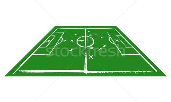 Voetbalveld perspectief opleiding sport ontwerp voetbal Stockfoto © Designer_things