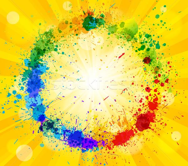 Fényes vektor nap festék csobbanások hatás Stock fotó © Designer_things