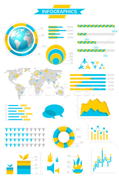 Infographic collection with labels and graphic elements. Vector  Stock photo © Designer_things