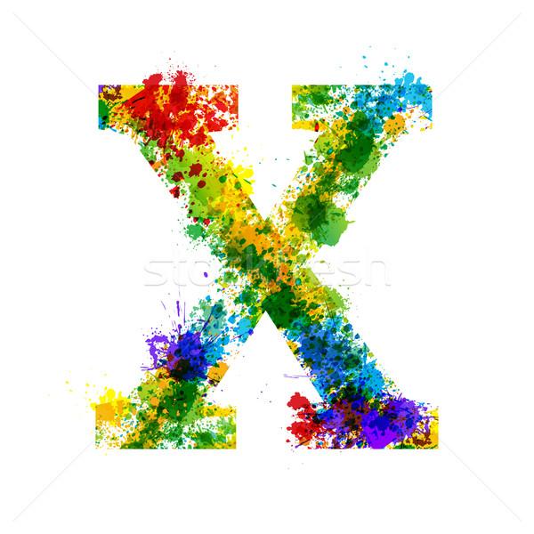 Color Paint Splashes. Gradient Vector Font. Watercolor Designer Decoration Alphabet. Ink Symbols Iso Stock photo © Designer_things