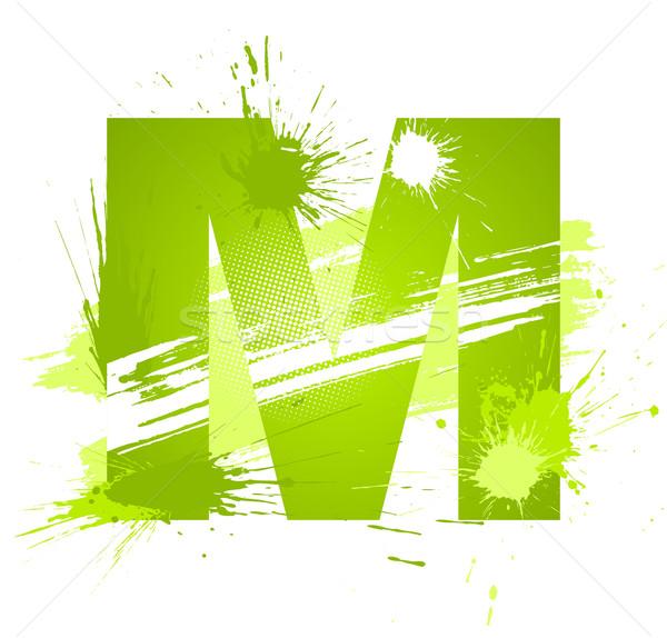 Stock fotó: Zöld · absztrakt · festék · csobbanások · betűtípus · m · betű