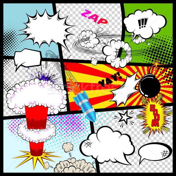 Retro Comic Book Speech Bubbles. Vector Design Elements. Stock photo © Designer_things
