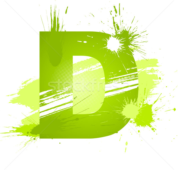 Green abstract paint splashes font. Letter D Stock photo © Designer_things