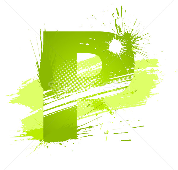 Green abstract paint splashes font. Letter P Stock photo © Designer_things