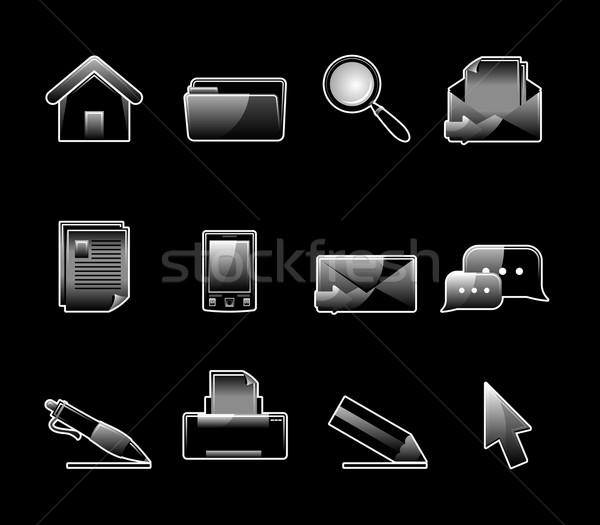 Glanzend ingesteld 12 web icons winkelen Stockfoto © Designer_things