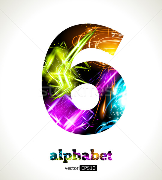 Vector Customizable Light Effect Alphabet. Design Abstract figure 6. Stock photo © Designer_things