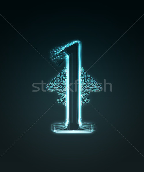 Glowing font. Shiny number 1 Stock photo © Designer_things