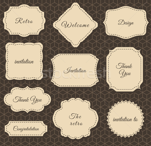 Stock photo: Vintage Frames Dark Background. Printing on fabric and Paper